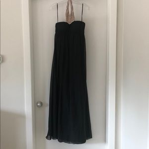 Black Maxi Dress with Pearl and Diamond Neck